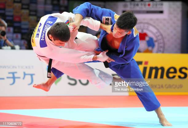 Shohei Ono of Japan throws Rustam OruJov of Azerbaijan to win by Ippon in the Men's 73kg final on day three of the World Judo Championships at the...