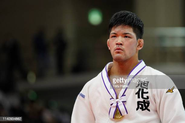 Shohei Ono poses for photographers with his gold medal after the Men's 73kg final match during day two of the All Japan Judo Championships By Weight...