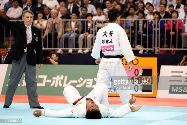 Shohei Ono reacts after defeating Soichi Hashimoto in the Men's 73kg final match during day two of the All Japan Judo Championships By Weight...