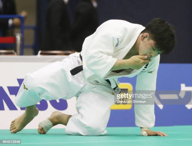 Shohei Ono reacts after his defeat by Tadashi Ebinuma in the Men's 73kg semifinal on day one of the All Japan Judo Championships by Weight Category...