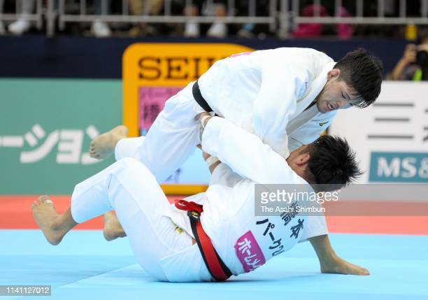 Shohei Ono throws Soichi Hashimoto in the Men's 73kg final during day two of the All Japan Judo Championships By Weight Category at the Fukuoka...