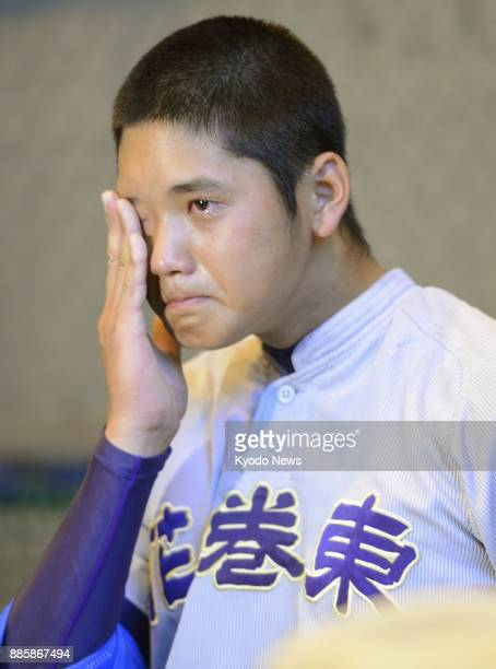 Shohei Otani a pitcher of Hanamaki Higashi High School cries after a loss at a ballpark in Iwate Prefecture on July 26 2012 Otani joined the...