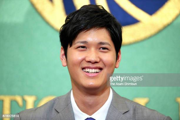 Shohei Otani of Hokkaido Nippon Ham Fighters attends a press conference announcing his challenge to the Major League Basenall at the Japan National...