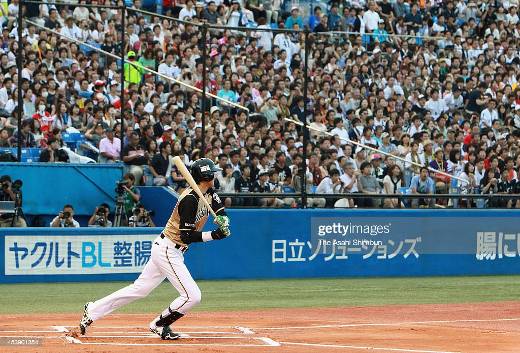 Shohei Otani of Hokkaido Nippon-Ham Fighters hits a double in the first inning during the second game of Nippon Professional Baseball All-Star Series at the Jingu Stadium on July 20, 2013 in Tokyo, Japan.