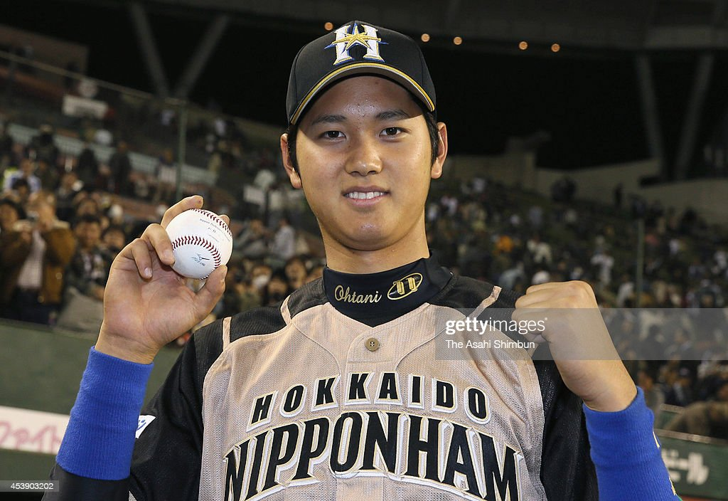 Shohei Otani of Hokkaido Nippon-Ham Fighters poses for a photograph after being interviewed for hitting his first career hit at the Seibu Stadium on March 29, 2013 in Tokorozawa, Saitama, Japan.