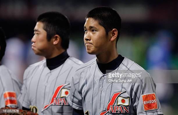 Shohei Otani of Japan looks on in the ninth inning during the 18U Baseball World Championship match between Japan and South Korea at Mokdong Stadium...