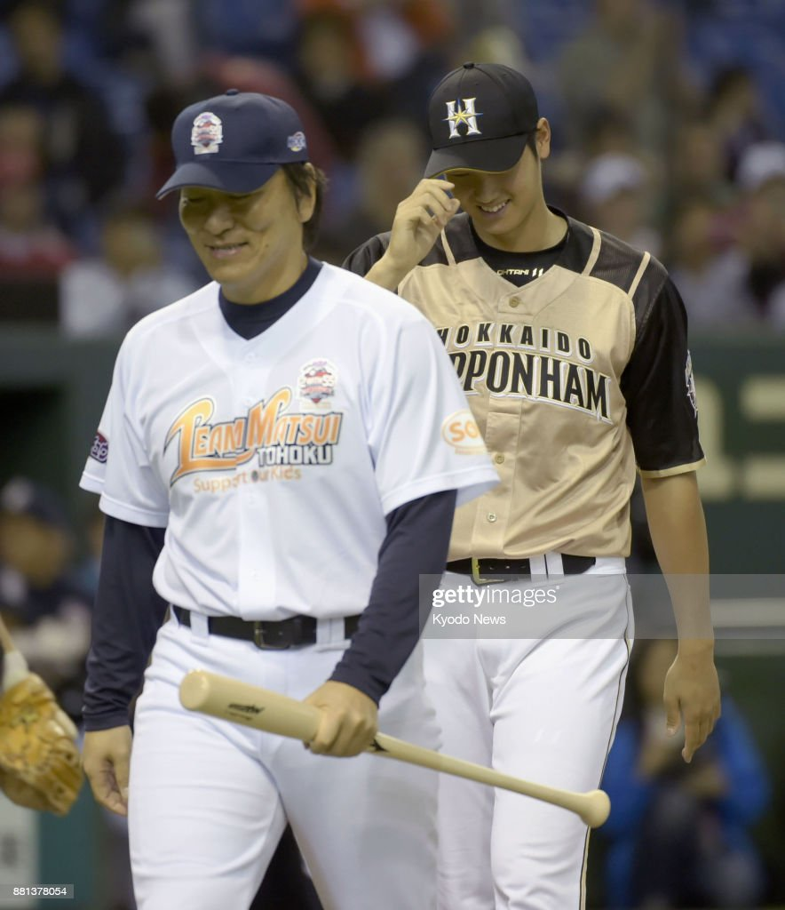 outlet store e1b9c 395df Shohei Otani of the Nippon Ham Fighters, along with former ...