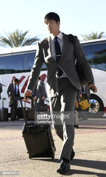 Shohei Otani of the Nippon Ham Fighters arrives at the team's lodging in Peoria Arizona on Jan 28 ahead of the team's training camp ==Kyodo