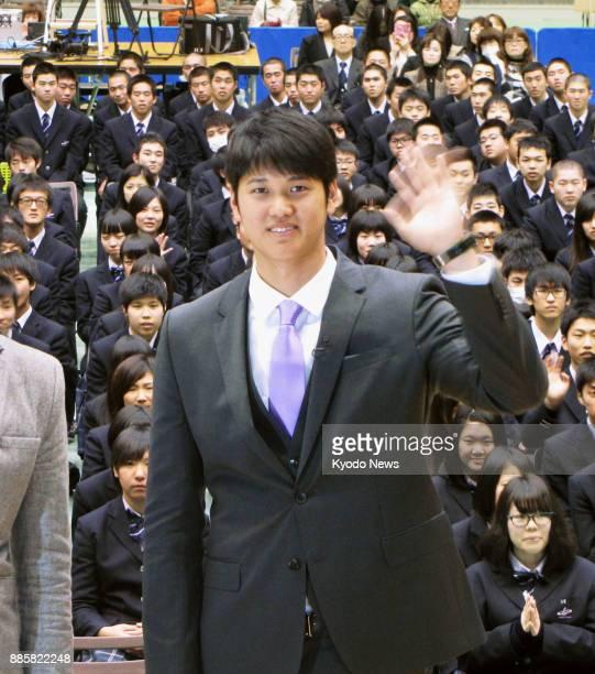 Shohei Otani of the Nippon Ham Fighters attends a ceremony at his alma mater Hanamaki Higashi High School in Hanamaki Iwate Prefecture on Dec 22 2016...