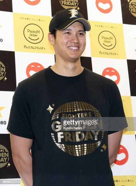 Shohei Otani of the Nippon Ham Fighters attends a press conference in Sapporo Hokkaido on March 25 to promote Japan's 'Premium Friday' campaign that...