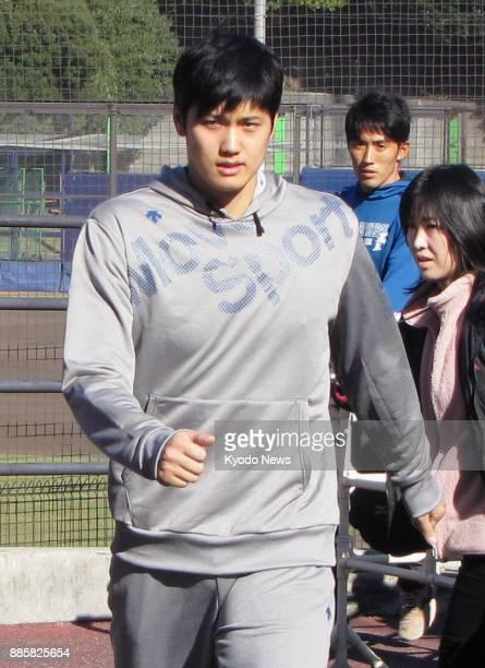 Shohei Otani of the Nippon Ham Fighters leaves a field in Kamagaya near Tokyo on Nov 16 2017 ==Kyodo