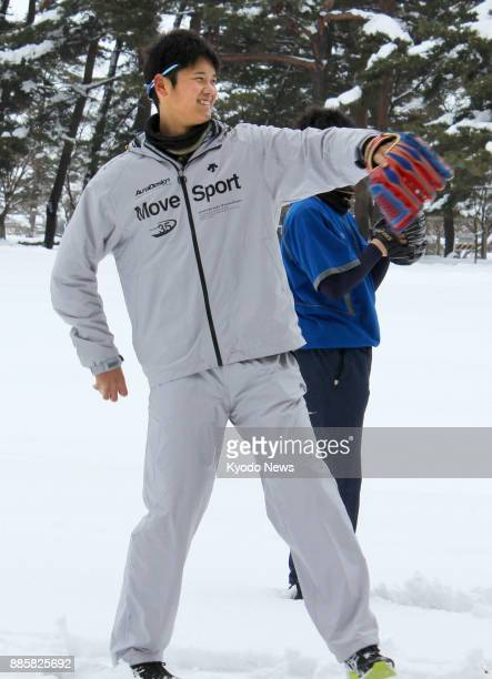 Shohei Otani of the Nippon Ham Fighters plays catch at his alma mater Hanamaki Higashi High School in Hanamaki Iwate Prefecture on Jan 3 2014 ==Kyodo
