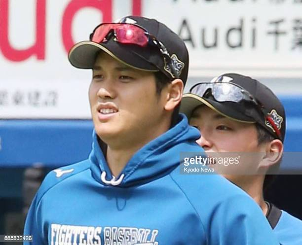 Shohei Otani of the Nippon Ham Fighters warms up before a game against the Chiba Lotte Marines at Zozo Marine Stadium in Chiba near Tokyo on April 6...