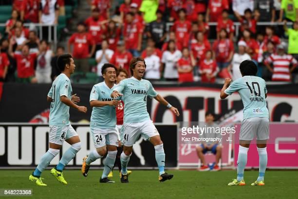 Shohei Takahashi of Jubilo Iwata celebrates the opening goal with his team mates during the JLeague J1 match between Jubilo Iwata and Urawa Red...