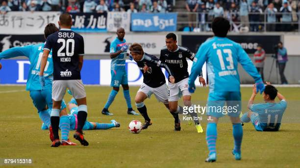 Shohei Takahashi of Jubilo Iwata runs with the ball during the JLeague J1 match between Sagan Tosu and Jubilo Iwata at Best Amenity Stadium on...
