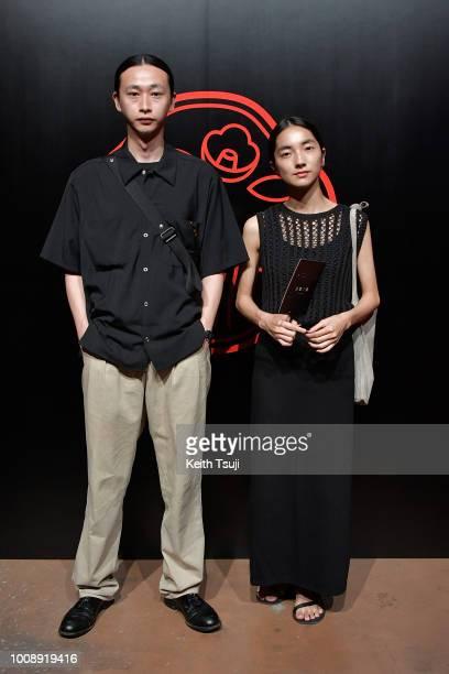 Shohei Yamashita and Saya Nimura attend the Shiseido Makeup Tokyo Launch Event on August 1 2018 in Tokyo Japan