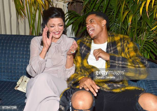 Shohreh Aghdashloo wearing Max Mara and Cordell Broadus attend the Max Mara Celebration for Alexandra Shipp 2018 Women In Film Max Mara Face Of The...