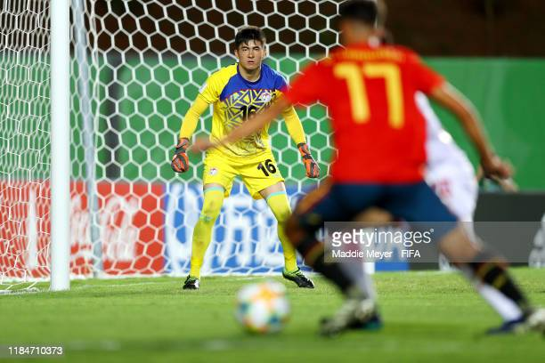 Shohrukh Qirghizboev of Tajikistan defends the goal during the FIFA U17 World Cup Brazil 2019 group E match between Spain and Tajikistan at Estádio...