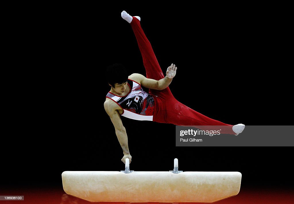 Shoichi Yamamoto of Japan competes on the Pommel Horse during the Men's Artistic Gymnastics Individual Olympic Qualification Final round at North Greenwich Arena on January 12, 2012 in London, England.