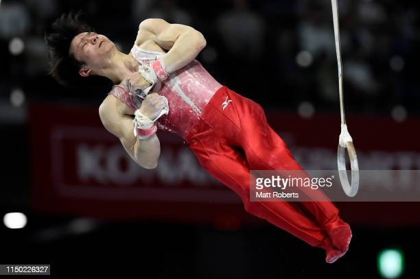 Shoichi Yamamoto of Japan competes on the Rings during day two of the Artistic Gymnastics NHK Trophy at Musashino Forest Sport Plaza on May 19, 2019...