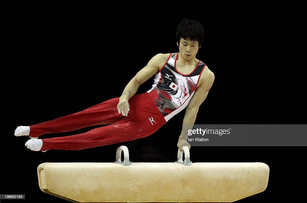 Shoichi Yamamoto of Japan in action on the Pommel Horse during the 3rd day of the Men's Gymnastics Final at North Greenwich Arena on January 12, 2012 in London, England.