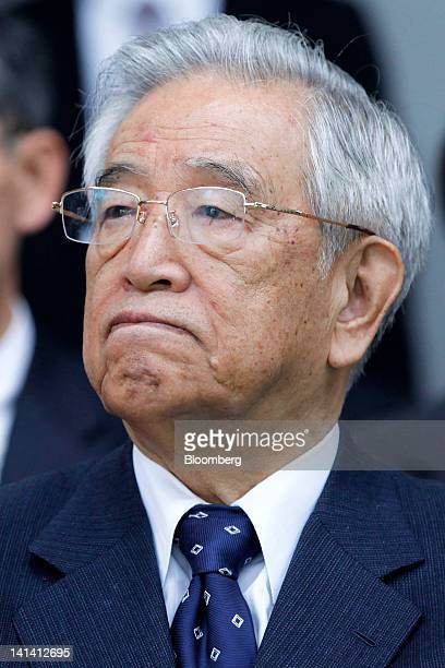Shoichiro Toyoda chairman emeritus of Toyota Motor Corp attends a lineoff ceremony for the Fuji Heavy Industries Ltd Subaru BRZ and Toyota 86 sports...