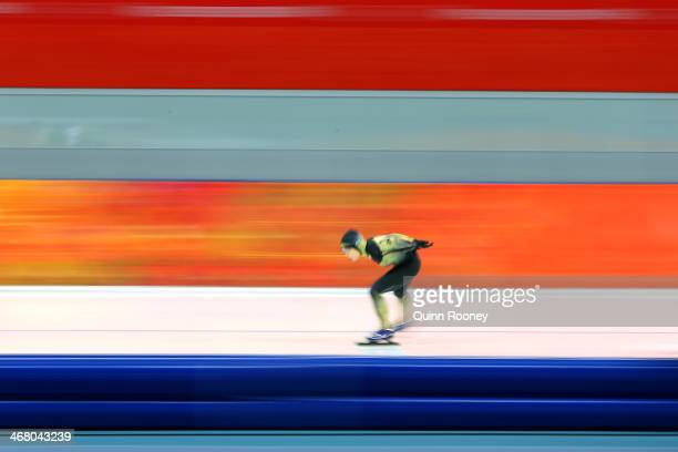 Shoko Fujimura of Japan competes during the Women's 3000m Speed Skating event during day 2 of the Sochi 2014 Winter Olympics at Adler Arena Skating...