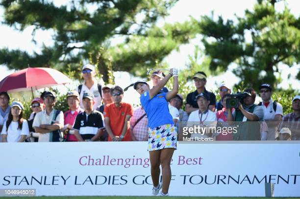 Shoko Sasaki of Japan hits her tee shot on the 16th hole during the final round of the Stanley Ladies at Tomei Country Club on October 7 2018 in...