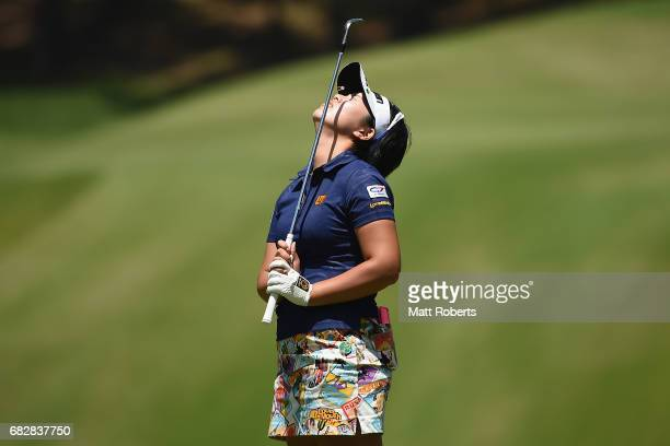 Shoko Sasaki of Japan reacts after her chip shot onto the 15th green during the final round of the HokennoMadoguchi Ladies at the Fukuoka Country...
