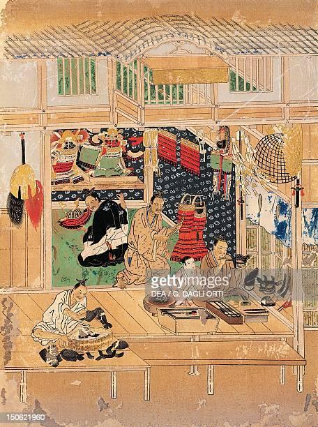 Shokunin zukushie craftsmen at work fan makers detail from a screen Japan Japanese Civilisation Edo period 17th century