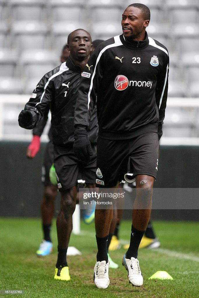 Shola Ameobi during a Newcastle United training session at St James' Park on April 25, in Newcastle upon Tyne, England.