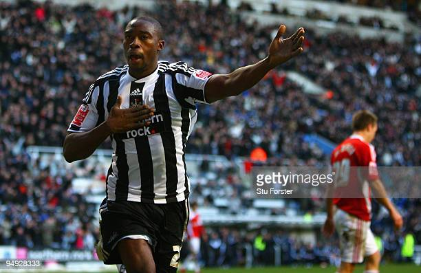 Shola Ameobi of Newcastle celebrates after scoring the second Newcastle goal during the Coca-Cola Championship match between Newcastle United and...