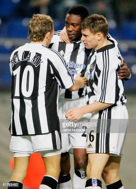 Shola Ameobi of Newcastle celebrates his goal during the UEFA Cup Group D match between FC Sochaux and Newcastle United at the Stade Auguste Bonal on...