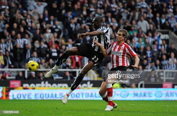 Shola Ameobi of Newcastle scores to make it 4-0 during the Barclays Premier League match between Newcastle United and Sunderland at St James' Park on...