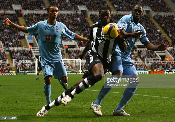 Shola Ameobi of Newcastle United battles for the ball with Ledley King of Tottenham Hotspur during the Barclays Premier League match between...