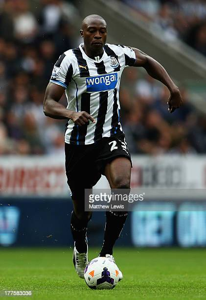 Shola Ameobi of Newcastle United in action during the Barclays Premier League match between Newcastle United and West Ham United at St James' Park on...
