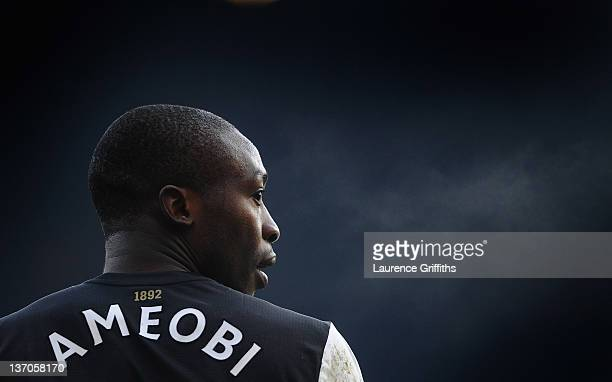 Shola Ameobi of Newcastle United looks on during the Barclays Premier League match between Newcastle United and Queens Park Rangers at Sports Direct...