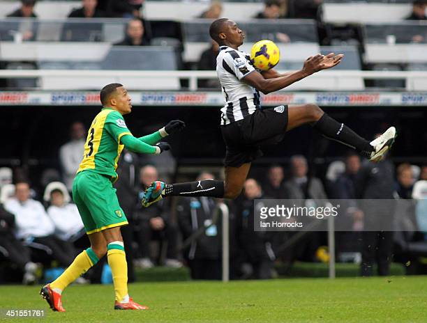 Shola Ameobi of Newcastle United shields the ball from Martin Olsson of Norwich during the Barclays Premier League match between Newcastle United and...
