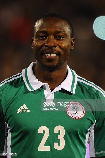 Shola Ameobi of Nigeria lines up for the National Anthem prior to an International Friendly match between Italy and Nigeria at Craven Cottage on...