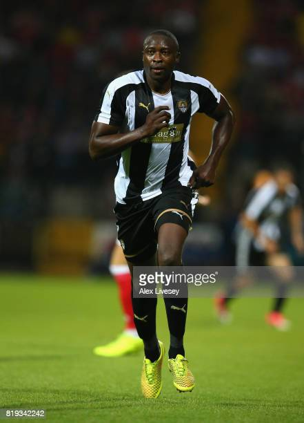 Shola Ameobi of Notts County during a preseason friendly match between Notts County and Nottingham Forest at Meadow Lane on July 19 2017 in...