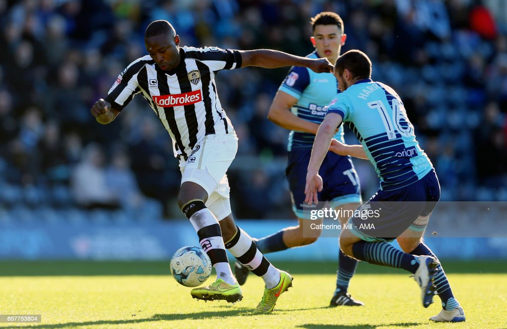 Shola Ameobi of Notts County during the Sky Bet League Two match between Wycombe Wanderers and Notts County at Adams Park on March 25, 2017 in High Wycombe, England.
