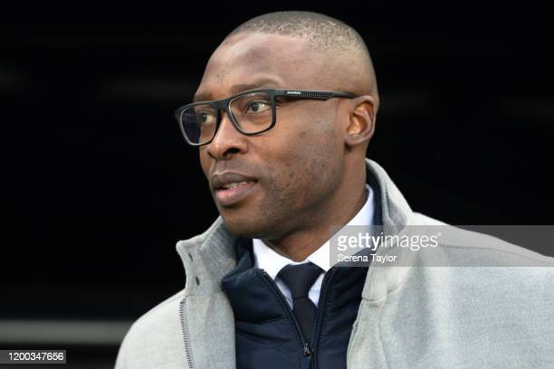Shola Ameobi pictured before the Premier League match between Newcastle United and Chelsea FC at St. James Park on January 18, 2020 in Newcastle upon...