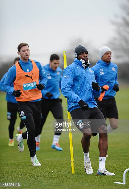 Shola Ameobi runs during a training session at The Newcastle United Training Centre on January 17 in Newcastle upon Tyne England