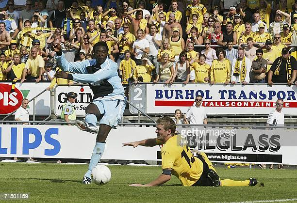 Shola Ameobi scores the first goal for Newcastle during the UEFA Intertoto Cup third round Second leg match between Lillestrom SK v Newcastle United...