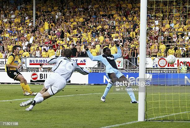 Shola Ameobi scores the second goal for Newcastle during the UEFA Intertoto Cup third round Second leg match between Lillestrom SK v Newcastle United...