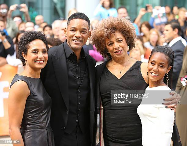 Shola Lynch Will Smith Angela Davis and Jada Pinkett Smith arrive at 'Free Angela All Political Prisoners' premiere during the 2012 Toronto...