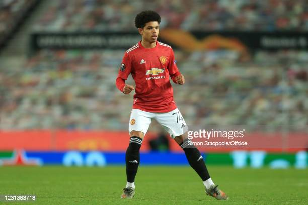 Shola Shoretire of Man Utd during the UEFA Europa League Round of 32 Leg Two match between Manchester United and Real Sociedad at Old Trafford on...