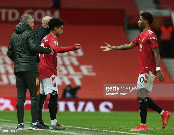 Shola Shoretire of Manchester United comes on as a substitute for Marcus Rashford during the Premier League match between Manchester United and...