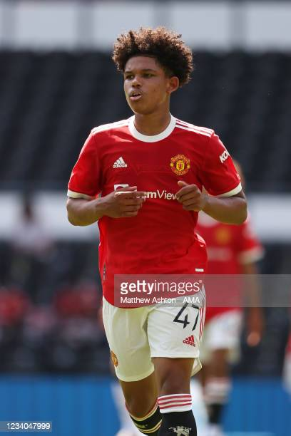 Shola Shoretire of Manchester United during a pre-season friendly between Derby County and Manchester United at Pride Park on July 18, 2021 in Derby,...