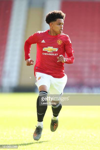 Shola Shoretire of Manchester United in action during the FA Youth Cup Fourth round match between Manchester United and Liverpool at Leigh Sports...